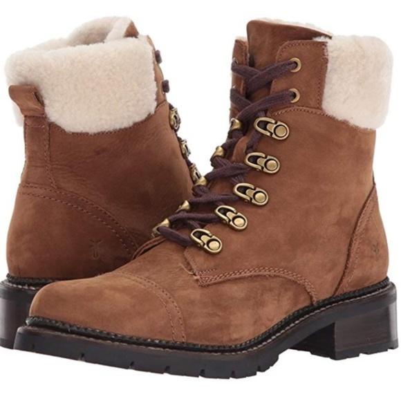 b50f2d898d2 $398 Frye Samantha Shearling Leather Hiker Boots NWT